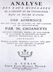 Analyse des eaux minérales de S. Vincent et de Courmayeur dans le duché d'Aoste