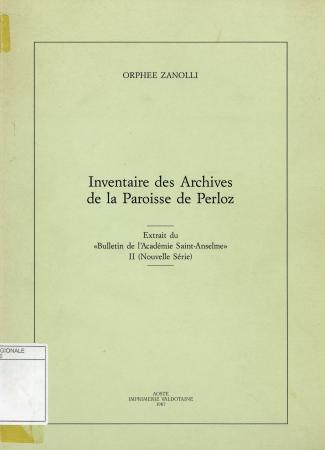 Inventaire des archives de la paroisse de Perloz