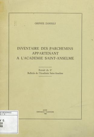 Inventaire des parchemins appartenant à l'Academie Saint-Anselme