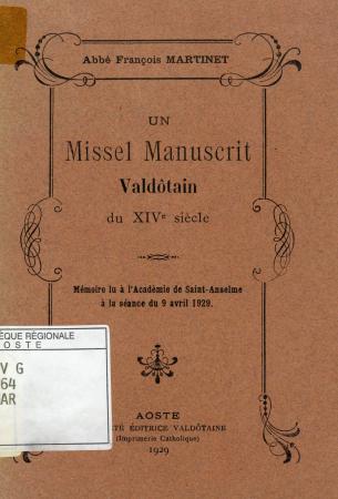 Un missel manuscrit valdôtain du XIVe siècle