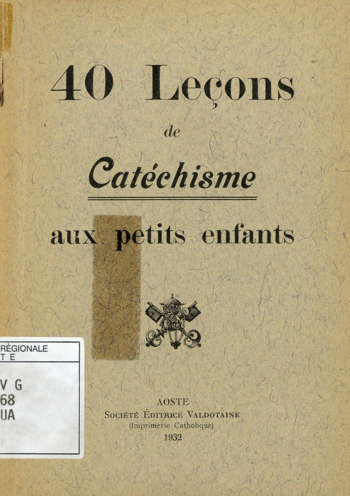 40 leçons de catéchisme aux petits enfants