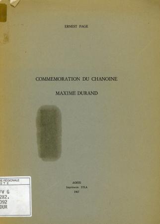 Commémoration du chanoine Maxime Durand