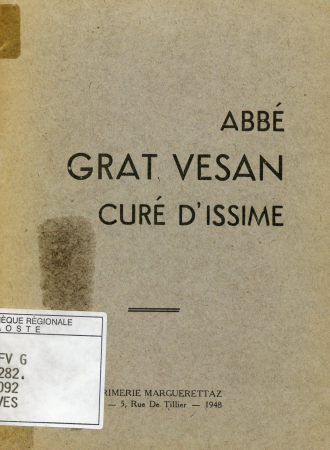 Abbé Grat Vesan curé d'Issime