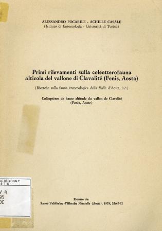Primi rilevamenti sulla coleotterofauna alticola del vallone di Clavalité (Fénis, Aosta)