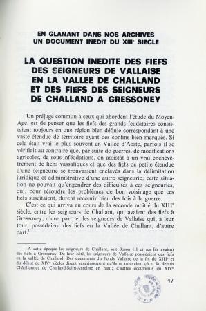 La question inédite des fiefs des seigneurs de Vallaise en la Vallée de Challand et des fiefs des seigneurs de Challand a Gressoney