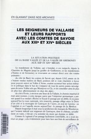 Les seigneurs de Vallaise et leurs rapports avec les Comtes de Savoie aux XIIIe et XIVe siècles